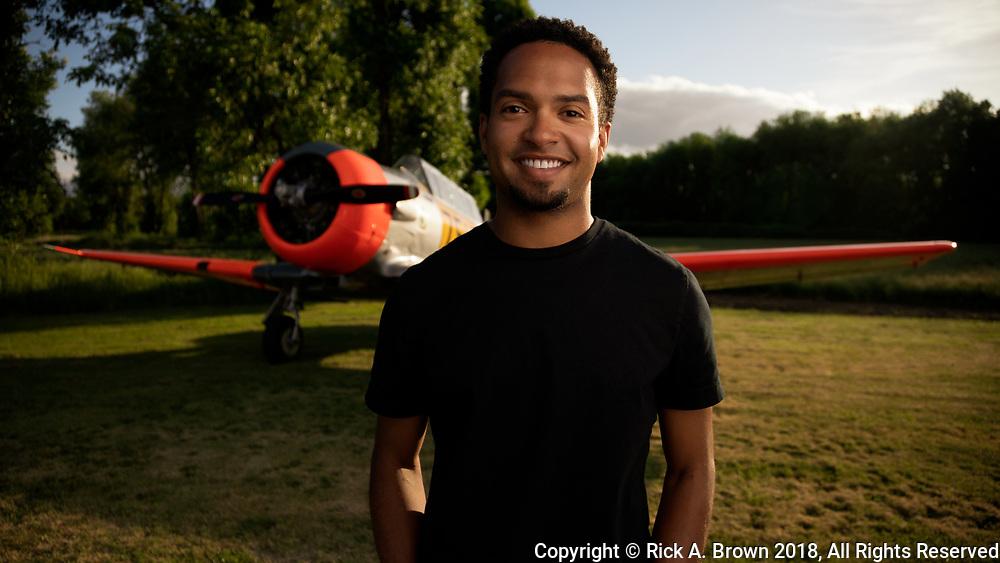 Bryan Harper - farmer, pilot - with his Harvard.