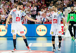 Nadim Remili of France and Michael Guigou of France during handball match between National teams of Croatia and France on Day 7 in Main Round of Men's EHF EURO 2018, on January 24, 2018 in Arena Zagreb, Zagreb, Croatia.  Photo by Vid Ponikvar / Sportida