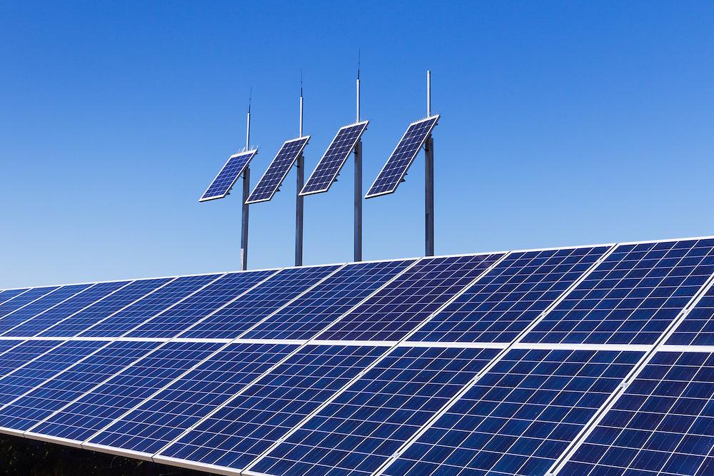 solar panel array under a blue sky near Yarroweyah, Victoria, Australia