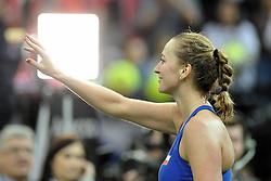 February 10, 2018 - Prague, Czech Republic - Czech tennis player Petra Kvitova celebrates after winning  in their Fed Cup match between Czech Republic v Switzerland in Prague, Czech Republic, February 10, 2018. (Credit Image: © Slavek Ruta via ZUMA Wire)