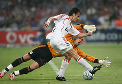 Athens, Greece - Wednesday, May 23, 2007: Liverpool's goalkeeper Jose Reina fails to stop  AC Milan's Filippo Inzaghi to score the second goal during the UEFA Champions League Final at the OACA Spyro Louis Olympic Stadium. (Pic by Chris Ratcliffe/ Propaganda)