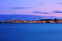 Picture of Montreal skyline as viewed from Ile Charron at dusk