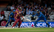 Kieron Pollard stumped by Kumar Sangakkara off the bowling of Muttiah Muralitharan during the ICC World Twenty20 Cup semi-final between Sri Lanka and West Indies at The Oval. Photo © Graham Morris (Tel: +44(0)20 8969 4192 Email: sales@cricketpix.com)