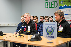 Ivo Jan, head coach and Dejan Varl during press conference of Slovenia Ice Hockey Team before friendly games against Hungary, Italy and Belarus, on February 4, 2019 in Bled, Slovenia. Photo by Peter Podobnik / Sportida