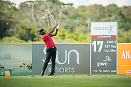 S Chikkarangappa (IND) on the 17th tee during the 3rd round of the AfrAsia Bank Mauritius Open, Four Seasons Golf Club Mauritius at Anahita, Beau Champ, Mauritius. 01/12/2018<br /> Picture: Golffile | Mark Sampson<br /> <br /> <br /> All photo usage must carry mandatory copyright credit (© Golffile | Mark Sampson)