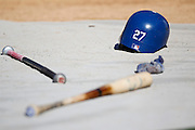LOS ANGELES, CA - AUGUST 07:  The batting helmet of Matt Kemp #27 of the Los Angeles Dodgers lies on a tarp during batting practice before the game against the Colorado Rockies on Tuesday, August 7, 2012 at Dodger Stadium in Los Angeles, California. The Rockies won the game 3-1. (Photo by Paul Spinelli/MLB Photos via Getty Images)