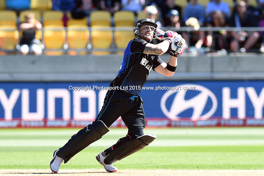 New Zealand captain Brendon McCullum mistimes a drive to end up getting caught by West Indies captain Jason Holder during the ICC Cricket World Cup Quaterfinal match between New Zealand and West Indies at Westpac Stadium in Wellington, New Zealand. Saturday 21  March 2015. Copyright Photo: Raghavan Venugopal / www.photosport.co.nz