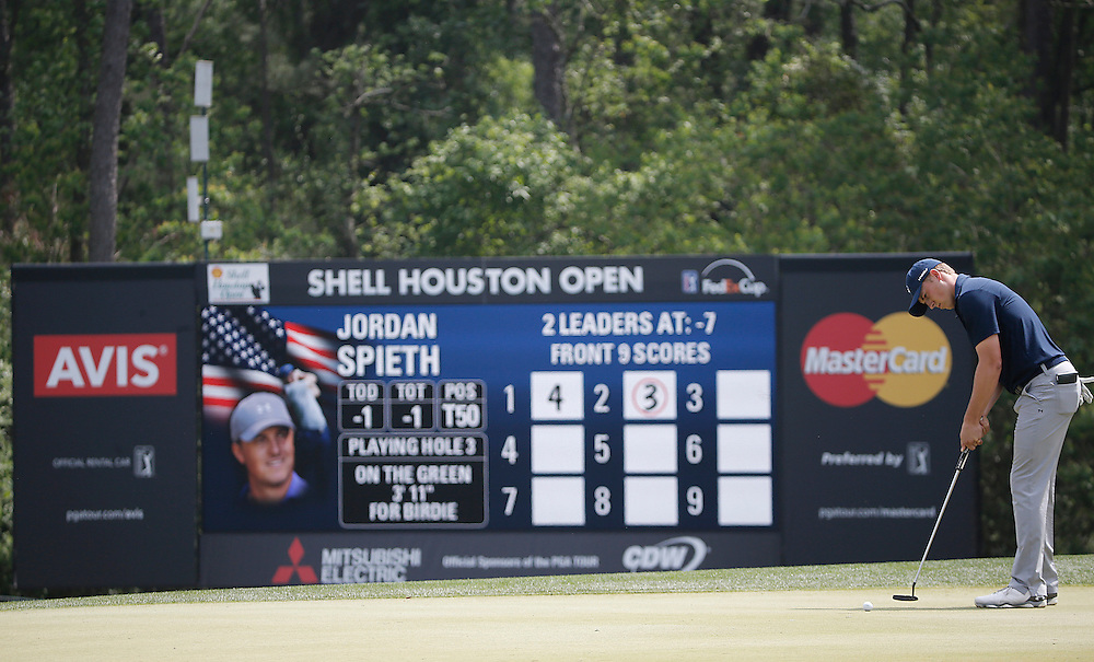 Jordan Spieth puts on the third green in the Shell Houston Open-Round 1 at the Golf Club of Houston on Wednesday, March 31, 2016 in Humble, TX. (Photo: Thomas B. Shea/For the Chronicle)