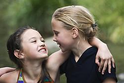 July 21, 2019 - Portrait Of Two Girls Hugging (Credit Image: © Carson Ganci/Design Pics via ZUMA Wire)