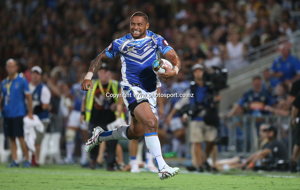 Rugby League - All Stars v Indigenous , Gold Coast 13 February 2015<br /> NRL All Stars' Manu Vatuvei in action<br /> Photograph :  Jason O'Brien
