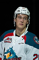 KELOWNA, CANADA - JANUARY 25: Conner Bruggen-Cate #20 of the Kelowna Rockets stands on the blue line during the national anthem against the Victoria Royals  on January 25, 2019 at Prospera Place in Kelowna, British Columbia, Canada.  (Photo by Marissa Baecker/Shoot the Breeze)