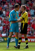 Photo. Glyn Thomas.<br /> Middlesbrough v Aston Villa. <br /> FA Barclaycard Premiership. 24/04/2004.<br /> Aston Villa's keeper Mark Schwarzer (L), who made a series of outstanding saves, tries to get captain Olef Mellberg to sort the defence out.