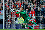 Liverpool goalkeeper Loris Karius (1) saves during the Champions League semi final leg 1 of 2 match between Liverpool and Roma at Anfield, Liverpool, England on 24 April 2018. Picture by Simon Davies.