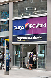 © Licensed to London News Pictures. 04/08/2020. LONDON, UK.  The exterior of of Currys PC World on Oxfiord Street.  Its owner, Dixons Carphone, has announced plans to cut 800 jobs by changing the way stores are managed.  Manager roles will be cut to be replaced by other roles.  Photo credit: Stephen Chung/LNP