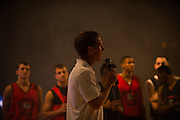 Head coach Mark Few talks with the fans during Kraziness in the Kennel. (Photo by Rajah Bose)