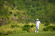 January 11 2015:  Brian Harman checks out the view from the green on number ten during the Third Round of the Hyundai Tournament of Champions at Kapalua Plantation Course on Maui, HI.