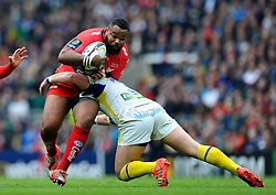 Mathieu Bastareaud of Toulon takes on the Clermont Auvergne defence - Photo mandatory by-line: Patrick Khachfe/JMP - Mobile: 07966 386802 02/05/2015 - SPORT - RUGBY UNION - London - Twickenham Stadium - ASM Clermont Auvergne v RC Toulon - European Rugby Champions Cup Final
