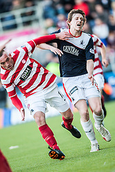 Hamilton's Darian Mackinnon and Falkirk's Blair Alston.<br /> Falkirk 1 v 1 Hamilton, Scottish Premiership play-off semi-final first leg, played 13/5/2014 at the Falkirk Stadium.