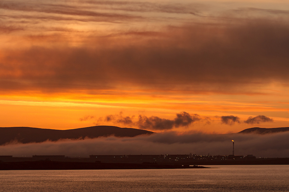 Sunset over Scapa Flow overlooking Flotta on the Orkney Islands.