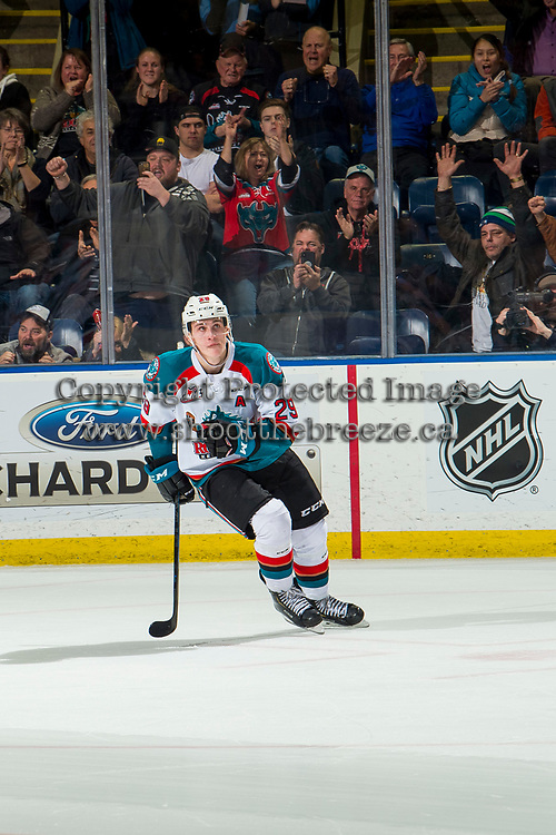 KELOWNA, CANADA - JANUARY 4: Nolan Foote #29 of the Kelowna Rockets celebrates a shoot out goal as he skates to the bench against the Prince George Cougars  on January 4, 2019 at Prospera Place in Kelowna, British Columbia, Canada.  (Photo by Marissa Baecker/Shoot the Breeze)