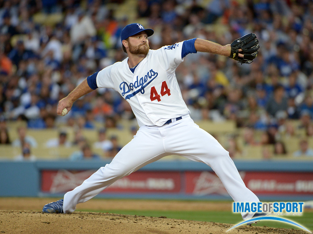 Apr 6, 2014; Los Angeles, CA, USA; Los Angeles Dodgers reliever Chris Withrow (44) delivers a pitch against the San Francisco Giants at Dodger Stadium. The Dodgers defeated the Giants 6-2.