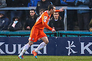 Jonathan Smith of Luton Town celebrates scoring his team's first goal against Wycombe Wanderers to make it 1-1 during the Sky Bet League 2 match at Adams Park, High Wycombe<br /> Picture by David Horn/Focus Images Ltd +44 7545 970036<br /> 26/12/2014