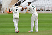 Tom Barber of Nottinghamshire celebrates taking a wicket during the Bob Willis Trophy match between Nottinghamshire County Cricket Club and Leicestershire County Cricket Club at Trent Bridge, West Bridgford, United Kingdon on 28 July 2020.