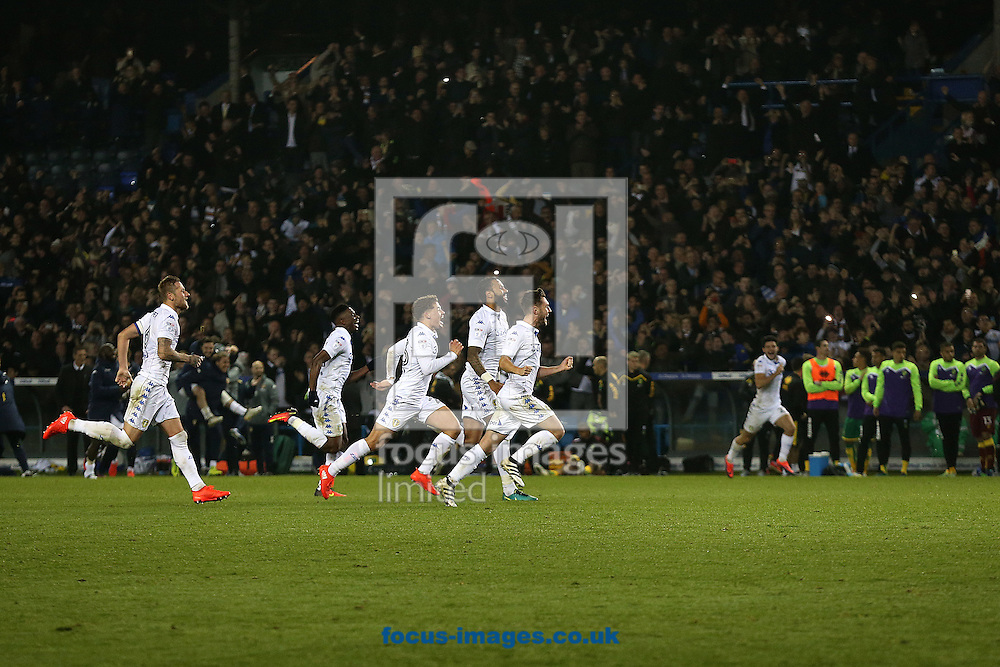 The Leeds United players celebrate victory at the end of the EFL Cup match at Elland Road, Leeds<br /> Picture by Paul Chesterton/Focus Images Ltd +44 7904 640267<br /> 25/10/2016