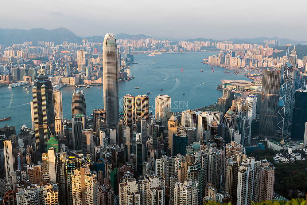 Panoramic View of Victoria Harbour, Hong Kong from Lugard Road (Peak Circle Walk).