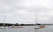 San Diego, California. USA,   2013 San Diego Crew Classic, Mission Bay.  General View, GV, crews attached to Sailing Boats, used as Stae Boats. 09:55:33   Sunday  07/04/2013  [Mandatory Credit. Karon Phillips/Intersport Images]..