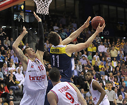 12.04.2015, Brose Arena, Bamberg, GER, Beko Basketball BL, Brose Baskets Bamberg vs EWE Baskets Oldenburg, Top Four 2015, Finale, im Bild Daniel Theis ( brose baskets Bamberg ) Adam Chubb ( EWE Baskets Oldenburg ) // during the Beko Basketball Bundes league TOP FOUR 2015 final match between Brose Baskets Bamberg and EWE Baskets Oldenburg at the Brose Arena in Bamberg, Germany on 2015/04/12. EXPA Pictures © 2015, PhotoCredit: EXPA/ Eibner-Pressefoto/ Langer<br /> <br /> *****ATTENTION - OUT of GER*****