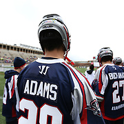 Brent Adams #28 of the Boston Cannons prepares to take the field prior to the game at Harvard Stadium on April 27, 2014 in Boston, Massachusetts. (Photo by Elan Kawesch)