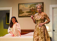 """Maggie (Jamie M. Clavet) and Big Mama (Barbara Webb) discuss Big Daddy's health during a dress rehearsal scene for """"Cat On a Hot Tin Roof"""" with the Winnipesaukee Playhouse on Tuesday evening.  (Karen Bobotas/for the Laconia Daily Sun)"""