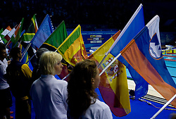 Tjasa Oder with a Slovenian flag at the closing ceremony after the 13th FINA World Championships Roma 2009, on August 2, 2009, at the Stadio del Nuoto,  in Foro Italico, Rome, Italy. (Photo by Vid Ponikvar / Sportida)