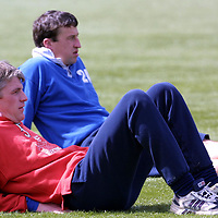 St Johnstone FC training....20.04.01<br />Jim Weir and Paul Kane enjoy the sunshine<br /><br />see words by Gordon Bannerman Tel: 01738 553978<br /><br />Pic by Graeme Hart<br />Copyright Perthshire Picture Agency<br />Tel: 01738 623350 / 07990 594331