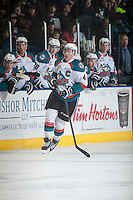 KELOWNA, CANADA - FEBRUARY 6: Madison Bowey #4 of Kelowna Rockets skates against the Kamloops Blazers on February 6, 2015 at Prospera Place in Kelowna, British Columbia, Canada.  (Photo by Marissa Baecker/Shoot the Breeze)  *** Local Caption *** Madison Bowey;