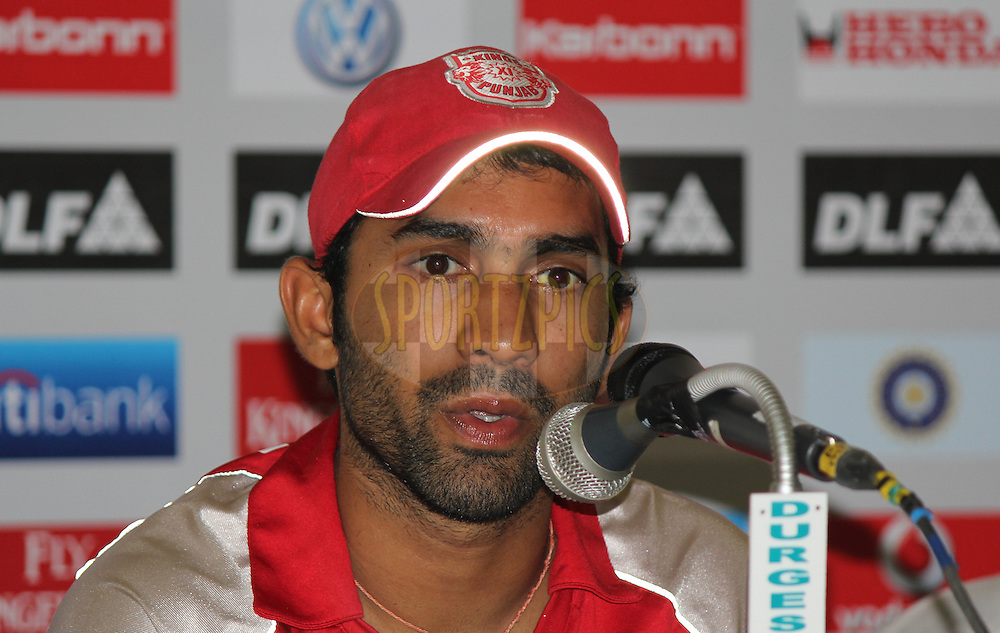 Dinesh Karthik of Kings XI Punjab addresses a press conference after  match 57 of the Indian Premier League ( IPL ) Season 4 between the Kochi Tuskers Kerala and the Kings XI Punjab held at the Holkar Stadium in Indore, Madhya Pradesh, India on the 13th May  2011...Photo by Parth Sanyal/BCCI/SPORTZPICS