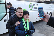 Forest Green Rovers manager, Mark Cooper poses with a young fan during the EFL Sky Bet League 2 match between Accrington Stanley and Forest Green Rovers at the Fraser Eagle Stadium, Accrington, England on 17 March 2018. Picture by Shane Healey.