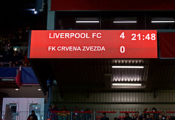 LIVERPOOL, ENGLAND - Wednesday, October 24, 2018: The scoreboard records Liverpool's 4-0 victory during the UEFA Champions League Group C match between Liverpool FC and FK Crvena zvezda (Red Star Belgrade) at Anfield. (Pic by David Rawcliffe/Propaganda)