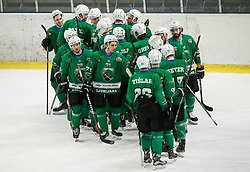 Players of Olimpija celebrate after winning during ice hockey match between HK SZ Olimpija and WSV Sterzing Broncos Weihenstephan (ITA) in Round #12 of AHL - Alps Hockey League 2018/19, on October 30, 2018, in Hala Tivoli, Ljubljana, Slovenia. Photo by Vid Ponikvar / Sportida