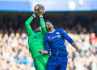 Football - 2016 / 2017 Premier League - Chelsea vs. WBA<br /> <br /> Ben Foster of West Bromwich Albion stretches to beat Diego Costa of Chelsea to the high ball at Stamford Bridge.<br /> <br /> COLORSPORT/DANIEL BEARHAM