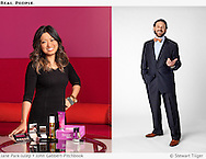 Jane Park of Julep with beauty products in Seattle office.  PitchBook Data CEO, John Gabbert, standing on white background.