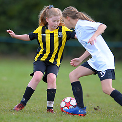 TELFORD COPYRIGHT MIKE SHERIDAN Action from AFC Telford United academy ladies/girls u11 vs Worthen Juniors at Idsall Sports Centre on Saturday, October 12, 2019.<br /> <br /> Picture credit: Mike Sheridan/Ultrapress<br /> <br /> <br /> <br /> MS201920-026