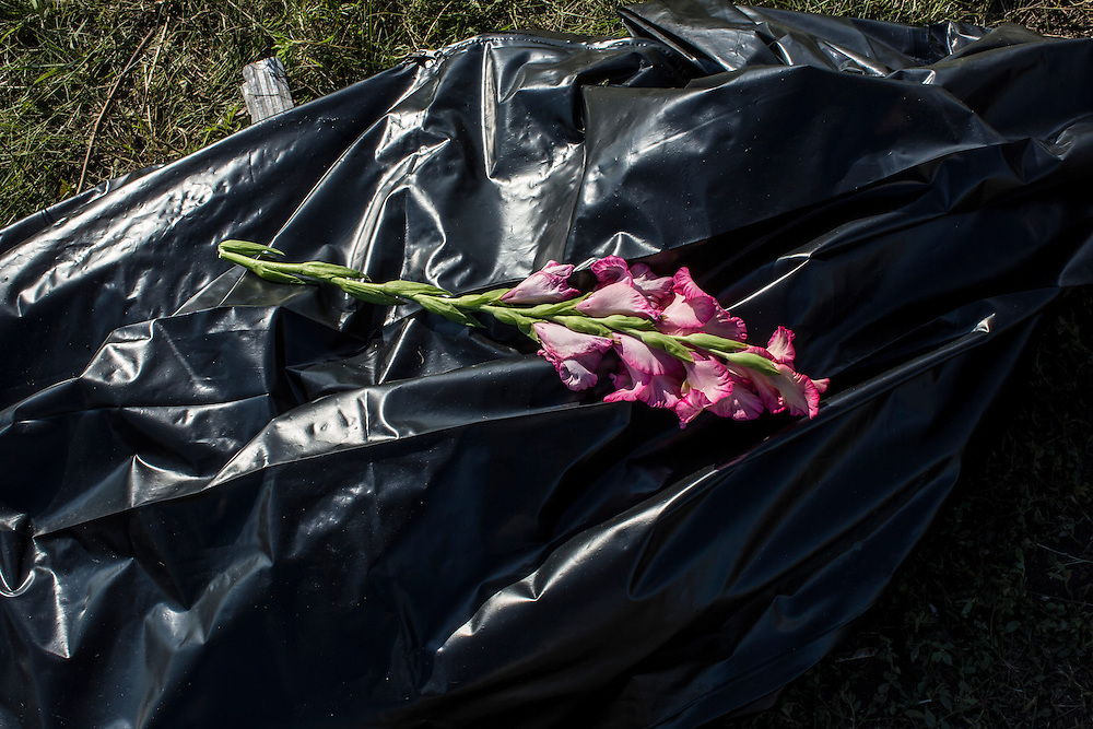 GRABOVO, UKRAINE - JULY 20: Flowers are left on a bag containing the body of a victim of the crash of Malaysia Airlines flight MH17 as it awaits collection by the side of the road near the crash site on July 20, 2014 in Grabovo, Ukraine. Malaysia Airlines flight MH17 was travelling from Amsterdam to Kuala Lumpur when it crashed killing all 298 on board including 80 children. The aircraft was allegedly shot down by a missile and investigations continue over the perpetrators of the attack. (Photo by Brendan Hoffman/Getty Images) *** Local Caption ***