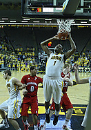January 26, 2012: Iowa Hawkeyes forward Melsahn Basabe (1) pulls in a rebound during the NCAA basketball game between the Nebraska Cornhuskers and the Iowa Hawkeyes at Carver-Hawkeye Arena in Iowa City, Iowa on Thursday, January 26, 2012.