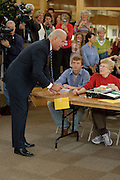 Senator Joseph R. Biden speaks to poll workers at the Tatnall School before casting his ballot in the 2008 general election in Greenville, De. Tuesday, 2 November 2008. Biden is the Democratic Vice Presidential Candidate.(Photography by Jim Graham)