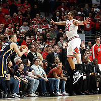 16 April 2011: Chicago Bulls center Joakim Noah (13) defends during the Chicago Bulls 104-99 victory over the Indiana Pacers, during the game 1 of the Eastern Conference first round at the United Center, Chicago, Illinois, USA.