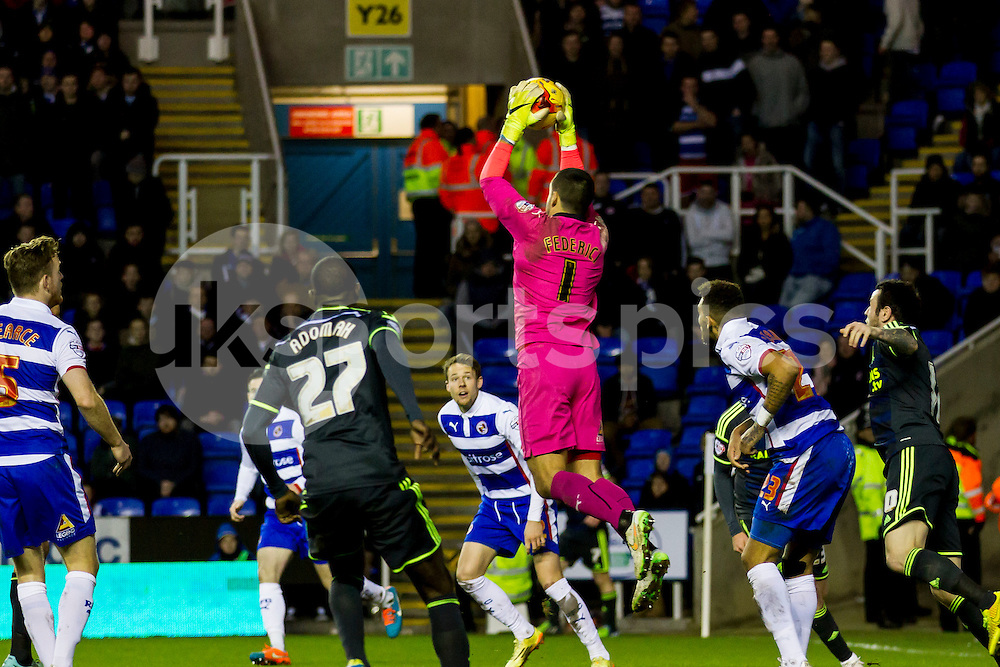 Adam Federici of Reading clams the ball during the Sky Bet Championship match between Reading and Middlesbrough at the Madejski Stadium, Reading, England on 10 January 2015. Photo by Gareth  Brown.