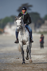 Marlen Schannwell, (IRL), Dino W  relaxing at the beach<br /> Furusiyya FEI Nations Cup presented by Longines <br /> La Baule 2016<br /> © Hippo Foto - Dirk Caremans<br /> 14/05/16