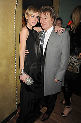ROD STEWART and his daughter KIMBERLEY STEWART at a party to celebrate the 10th Anniversary of Claridge's Bar, Claridge's Hotel, Brook Street, London on 11th November 2008.